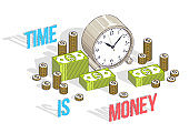 Time is Money concept, table Clock with cash money stacks and coin piles isolated on white background. Vector 3d isometric business and finance illustration, thin line design.