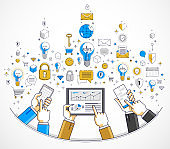 Internet teamwork online team is working and having communication using gadgets and apps, businessmen hands with phones and tablet, vector illustration.