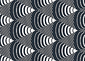 Cones op art seamless vector background, repeat tiling optical illusion pattern, textile or wrapping paper, website backdrop or wallpaper.