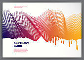 Lined vector wave background fluid flow. 3d dynamic stripes motion art. Lined texture, dynamic surface, curve lines, flow shape.