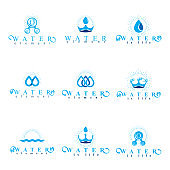 Fresh mineral water design emblems like water drops, H2O symbols, wave splash and limitless symbols. Cleaning services business signs, water treatment concept.