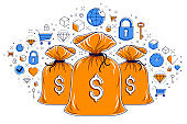 Money bag and icon set vector design, savings or investments concept, online payments, marketplace or shop.