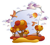 Scenic autumn landscape of meadows and trees, cloudy sky with birds and sun, fall fields and grasslands vector illustration in paper cut kids style. Autumn in countryside, travel and tourism.