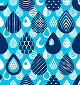 Rain drops falling seamless pattern, vector blue colored repeat endless background. Dripping trendy illustration.