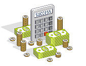 Business success and income or profit concept, calculator and money cash dollar stack and coins isolated on white background. Vector 3d isometric business and finance illustration.