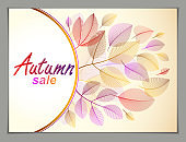 Design horizontal banner with Autumn typing emblem, fall red and yellow leaves frame composition background. Card for autumn season, promotion offer. Stylish classy botanical drawing, environment.