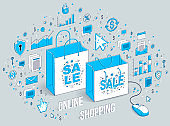 Online Shop concept, web store, internet sales, Shopping bag with pc mouse connected isolated on white. 3d vector business isometric illustration with icons, stats charts and design elements.