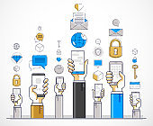 Internet communication and activity, people hands holding phones and using apps, global network, modern communication, messenger or social media concept, vector design.
