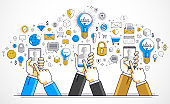 Internet teamwork online team is working and having conference using gadgets and apps, businessmen hands with phones and tablet, vector illustration.