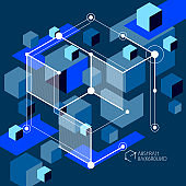 Isometric abstract dark blue background with linear dimensional cube shapes, vector 3d mesh elements. Layout of cubes, hexagons, squares, rectangles and different abstract elements.