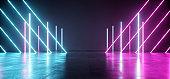 Futuristic Neon Lights Laser Purple Blue Glowing Modern Retro Sci Fi Elegant Spaceship Club Night Dark Garage Underground Grunge Concrete Reflections Abstract Beams 3D Rendering