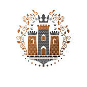 Ancient Fort emblem. Heraldic Coat of Arms decorative sign isolated vector illustration. Ornate symbol in old style on white background.