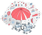 Insurance concept, umbrella with cash money dollar stack and coins isolated on white background. Vector 3d isometric business illustration with icons, stats charts and design elements.