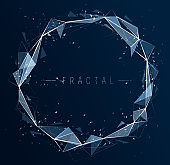 Polygonal elements vector abstract background, low poly 3D object, connected lines in perspective fractal design element, mesh lattice net technology theme.