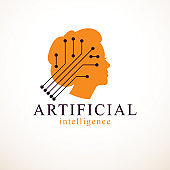 Computer human android bot, artificial intelligence concept. Human profile with electronics elements icon. Vector symbol design. Smart software, idea of intelligent machines and computer programs.