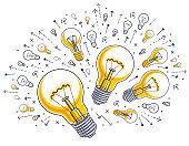 Shining light bulb and set of lightbulb icons, ideas creative concept, brainstorm allegory, vector illustration.