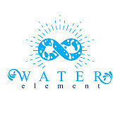 Mountain water spring conceptual limitless symbol. Water cleaning company conceptual emblem.