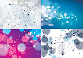 Connected lines with dots geometric science and technology abstract backgrounds set. With blurred defocused round lights textures. Vector abstract virtual particles structures.