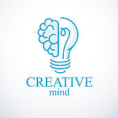 Creative brain concept, intelligent creation vector sign. Light bulb with half of human anatomical brain. Bright mind, thinking and brainstorming idea icon.