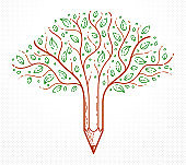 Beautiful tree with pencil combined into a symbol, creativity and ideas concept vector linear style icon. Art and design conceptual allegory.