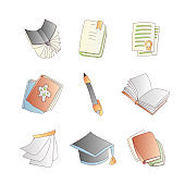 Cute cartoon vector book, notebook, calendar, diary and journal icon set with pen. Cartoon books icon collection. School book icons, college notebooks and graduate hat. School notebooks set on white background