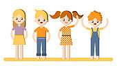 Flat vector cartoon child illustration. Boys and girls flat illustration - collection isolated on white background. Kids flat illustration
