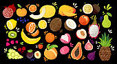 Set of colorful hand draw fruits - tropical sweet fruits, and citrus fruit illustration. Apple, pear, orange, banana, papaya, dragon fruit, lichee and other. Vector colored sketch isolated illustration. Juicy Fruit and Berries collection