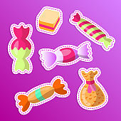 Sweet cartoon sticker candy set. Collection of sweets, cartoon style. Candy in wrap, wrapping candy, sweets collection. cartoon doodle form candies and sweets, stickers. Jelly and wrapped candies, Colorful pastry. Popular sweet desserts