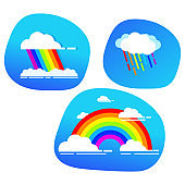 Cloud rainbow arc,rain shape blue sky.Cartoon vector flat.