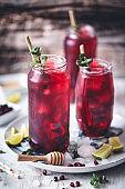 Roselle or Hisbiscus iced tea, green tea, Lemongrass and honey