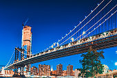 New York night view of the Lower Manhattan and the Manhattan Bridge across the East River.
