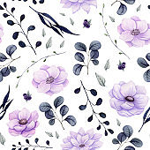 Seamless Pattern of Watercolor Dark Leaves and Flowers