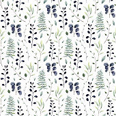 Seamless Pattern of Watercolor Leaves and Ferns