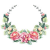 Wreath with Watercolor Summer Flowers