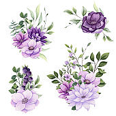 Set of Watercolor Bouquets with Dahlia and Anemone