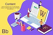 Isometric concept creative writing or blogging, education and content management for web page,