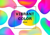 Set of 3D liquid or fluid shapes gradient elements vibrant color background.