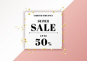Sale banner pink background and gold ribbon elements with white square frame space for your text.