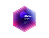Science conference. Abstract geometric background with realistic cube.  Vector illustration for banner, poster, flyer and magazine page.