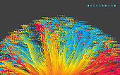 Point explode. Array with dynamic emitted particles. 3d technology style. Abstract background. Vector illustration.