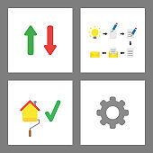 Icon concept set. Arrow up and down, idea, write and send email, painting house, gear.