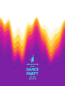 Dance party invitation with date and time details. Music event flyer or banner. 3D wavy background with dynamic effect. Vector illustration.