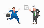 Hand-drawn vector businessman worker late for work and angry boss shows him what time is it