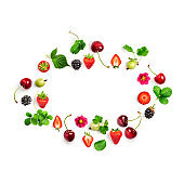 Berries summer fruits frame on white background