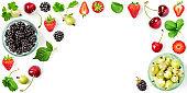 Berries summer fruits frame
