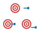 Vector icon set of bulls eye and dart, hit and miss the target.