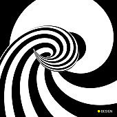Pattern with optical illusion. Black and white design. Abstract striped background. Vector illustration.