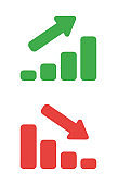 Vector icon set of sales bar graphs moving up and down.