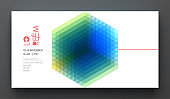 Business event invitation template. Abstract geometric background with realistic cube. Can be used for online courses, master class, seminar, presentation, webinar or lecture. Vector illustration.