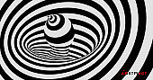 Black and white background with optical illusion. Pattern can be used as a template for brochure, annual report, magazine, poster, presentation, flyer and banner. 3d vector illustration.